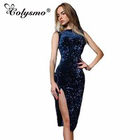 Colysmo New Summer Dress O Neck Sleeveless Women Dresses Side Slits Sequins Dress Solid Slim Bodycon