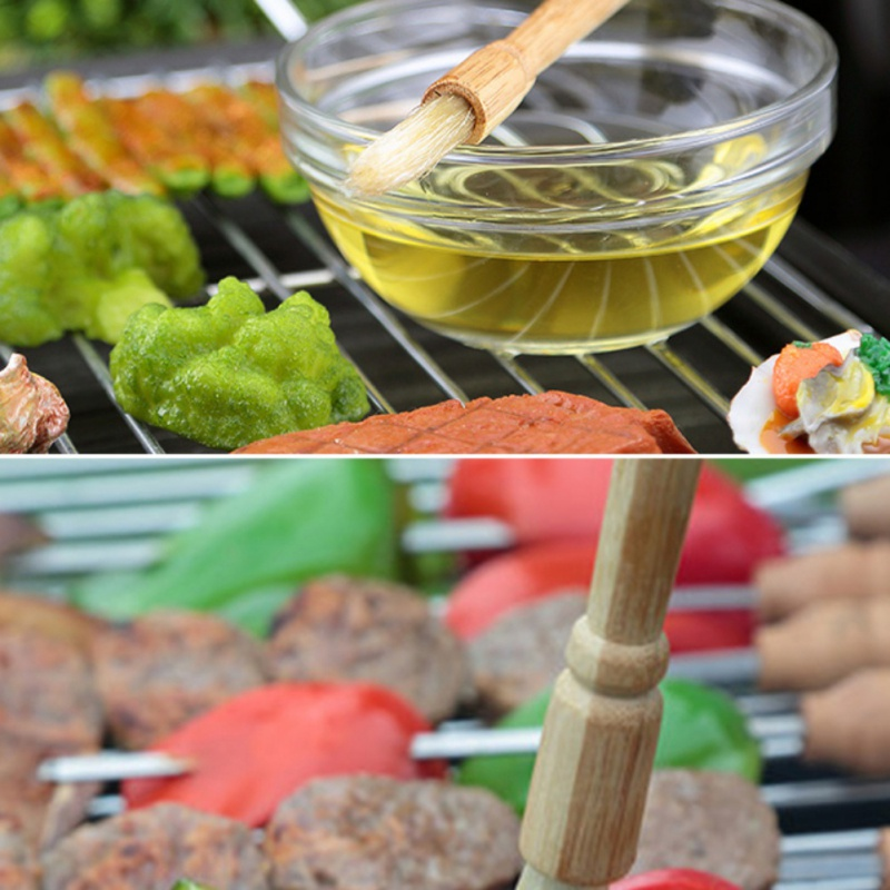Wooden Handle Barbecue Brush Pig Hair Brush BBQ Oil Brush with Seasoning Barbecue Outdoor Barbecue Tool Kitchen Accessories