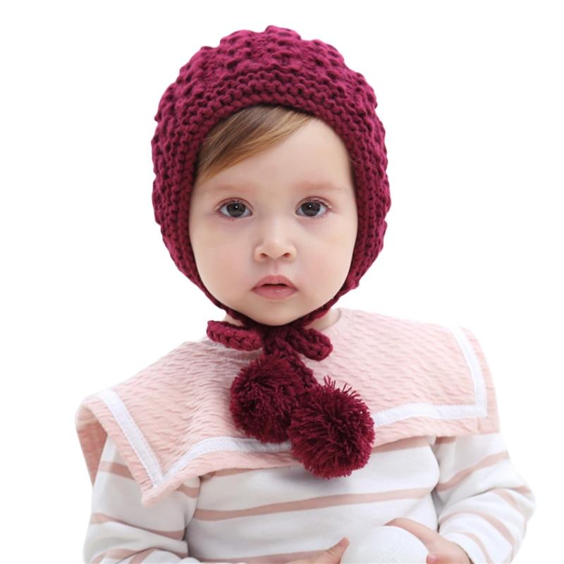 1Pcs Children Hat Crochet Bonnet Autumn Winter Handmade Wool Ear Knitting Hats Kids Baby Fashion Warmer Caps Child Hats