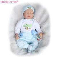 22 Reborn Baby Boy Dolls With Free Baby Bib Blue Clothes Sleeping Bebe Doll Reborn Baby