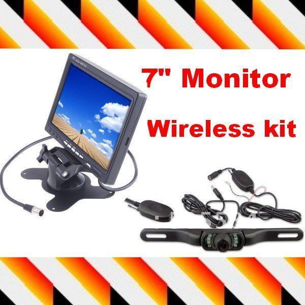 "Wireless 7"" Color LCD Monitor Car Rearview Camera + Night vision 2.4GHz wireless car backup camera Transmitter & Receiver kit"
