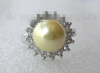 00477 round gold south sea shell pearl ring white gold
