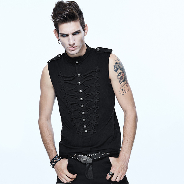 fd3a064696c08 Devil Fashion Punk Men Black Vest Steampunk Vintage Sleeveless Gothic  Buttons Tank Tops Casual Tee Shirts