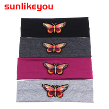 Sunlikeyou Butterflies Embroidery Cotton Headband baby Unisex Resilient Breathable Sweat Absorption Boy Baby Girl Headbands