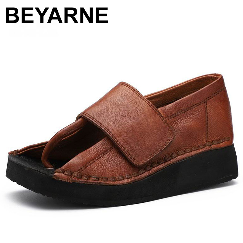 BEYARNE Spring and Summer 2019 New Personality Women Sandals Genuine Leather Hook and Loop Thick Sole Wedge Heels ShoesE284BEYARNE Spring and Summer 2019 New Personality Women Sandals Genuine Leather Hook and Loop Thick Sole Wedge Heels ShoesE284