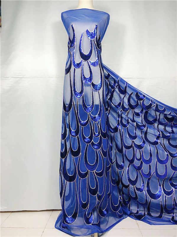 جميلة زهرة مطرزة صافي نسيج الدانتيل أفريقي الترتر الأربطة الزفاف الملكي الأزرق 2019 دانتيل غيبور عالي الجودة أقمشة ملابس