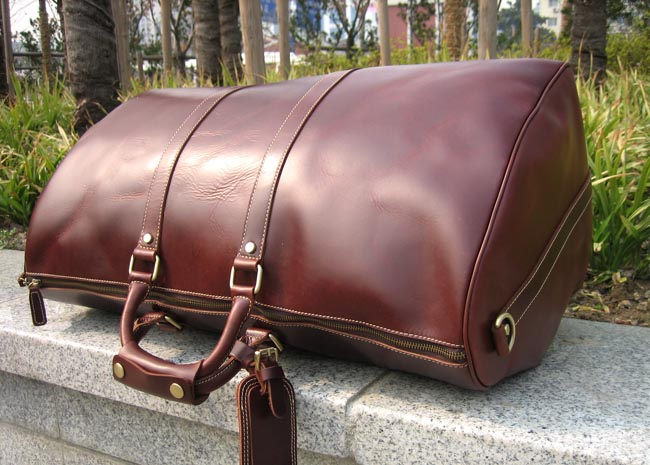New men's women's UNISEX LARGE LEATHER DUFFLE TRAVEL BAG LUGGAGE ...