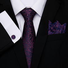Free shipping  2019 Men`s Tie 100% Silk Jacquard Woven floral Necktie Hanky Cufflinks Sets For Formal Wedding Business Party