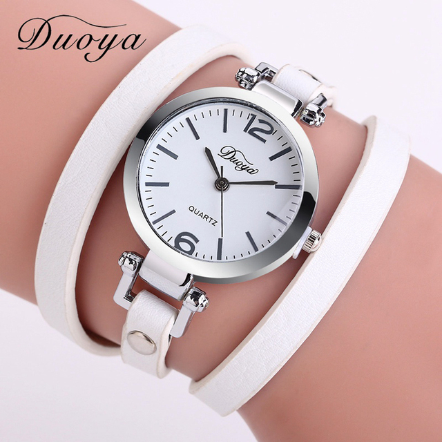 Duoya Brand Fashion Luxury Leather Bracelet Watch Ladies Vintage Watch Casual Wo