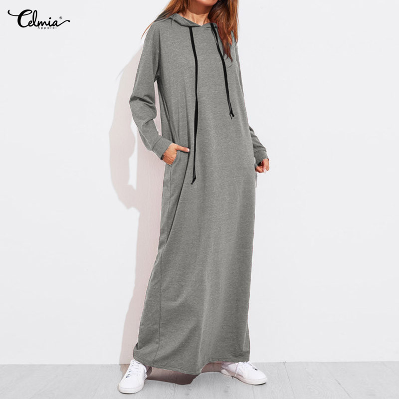 Celmia Women Vintage Hoodies Maxi Dress 2018 Autumn Casual Solid Long Sleeve Pockets Hooded Dresses Female Long Vestido 8 Colors