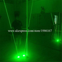 Wholesale One Pair Hand Green Laser Swords + 1 Pcs Laserman Show Pointers Projector Control By Feet For Stage Laser Dance Show