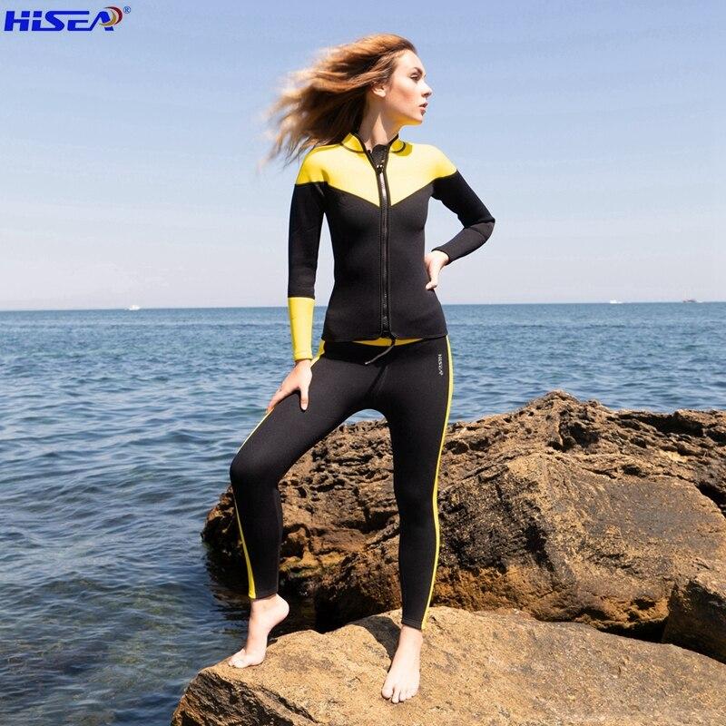 Hisea 3mm Neoprene Women Elastic Soft Rashguard Tights Diving Jacket and pants are sold separately bodysuit