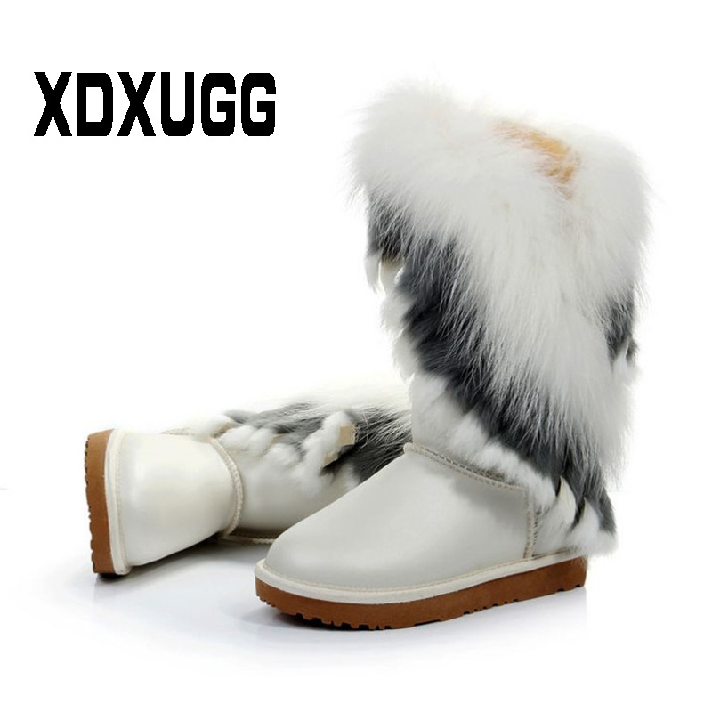 2018 New Fashion Style Big Natural Fox Fur Snow Boots Real Cow Leather High Snow Boot Women Winter Long Boots Rabbit Fur Fringe