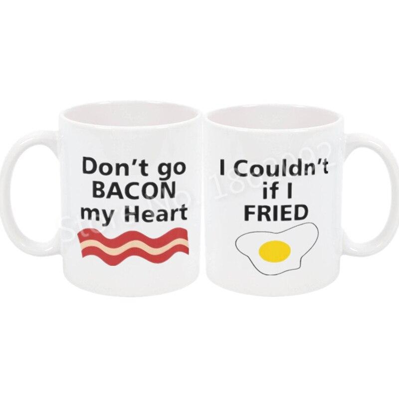 Funny Bacon Eggs Couple Mug Novelty Baon Eggs Matching Mug