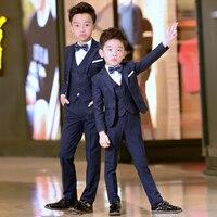 Brand Flowers Boys Formal Suit Wedding campus student Dress Gentleman Kids Jacket Vest Pants Bowtie ceremony Costumes