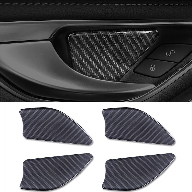 4 Pieces For Mercedes Benz W205 C Class GLC X253 Car-Styling Car Door Handle Sticker Door Bowl Cover Interior Trim Accessories car center console dashboard speaker cover protection cover trim for mercedes benz c class w205 c180 c200 c260 glc class x253