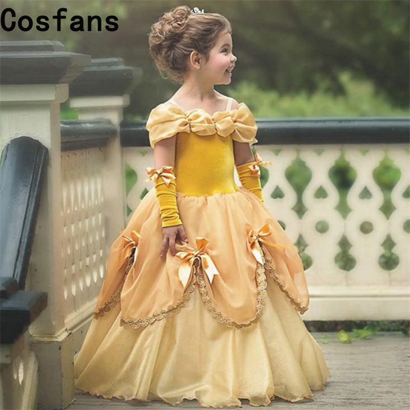 Hot New Beauty And The Beast Dress For Girl Belle Costume Child Deguisement Elza Carnaval Christmas Kid Sling Bridesmaid Prom