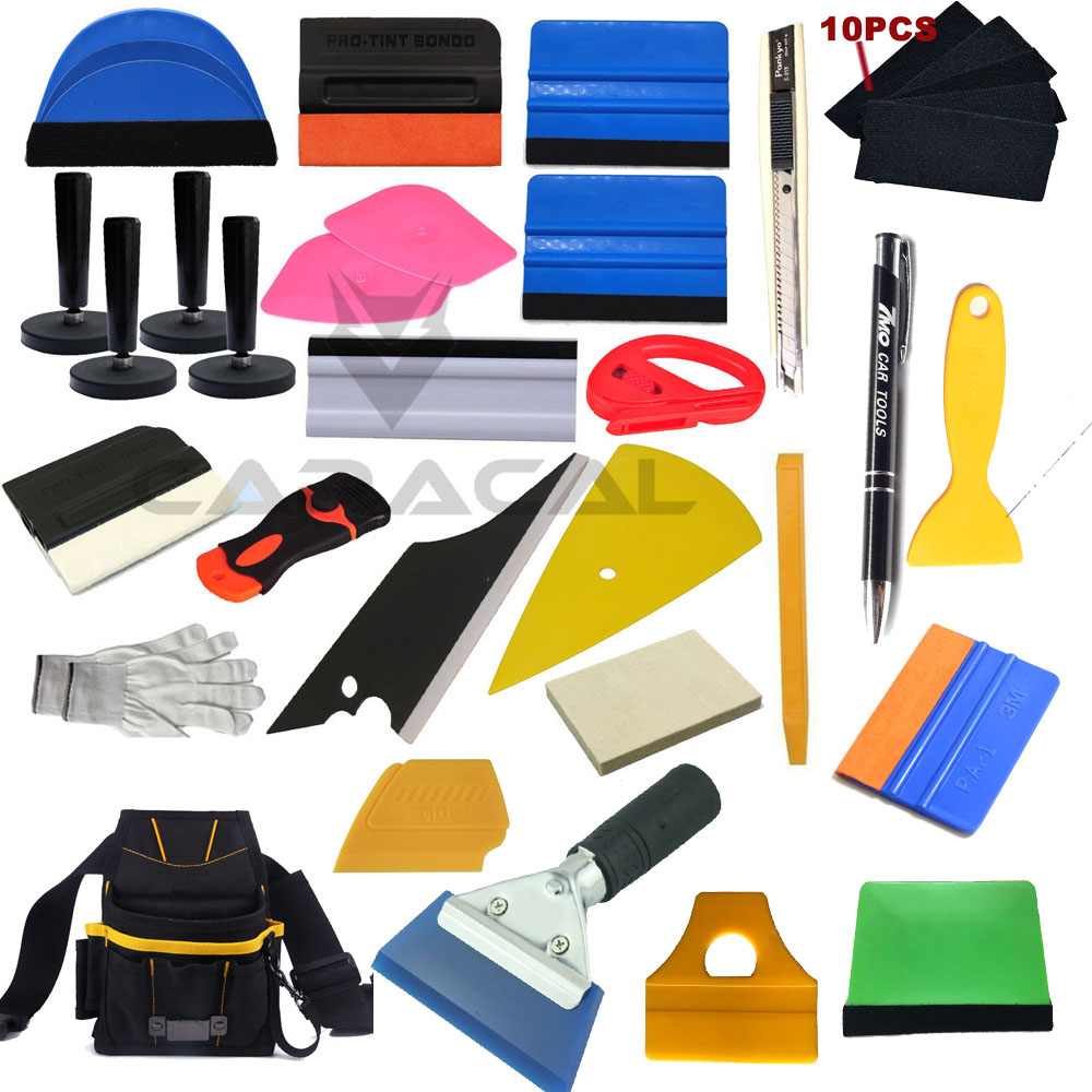 Emballage de voiture Outils D'installation Kit Vinyle Wrap Sac Raclette Rasoir Gant Aimants