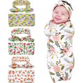 2Pc/Set Flower Floral Swaddle Blanket Matching Top Knot Hiarband Headband Infant Toddler Newborn Baby Knit Blanket