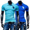 Nuevos Hombres de la Moda Camisa de Polo de Manga Corta Cuello Vuelto de Color Sólido Adelgazan Las Camisas Camisas Masculina Homme Caliente del envío gratis
