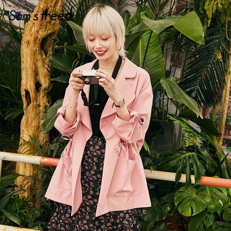 Samstree Pink Solid Minimalist Style Women Short Coat 2019 Autumn Pocket Pure Loose Casual Office Ladies Jackets