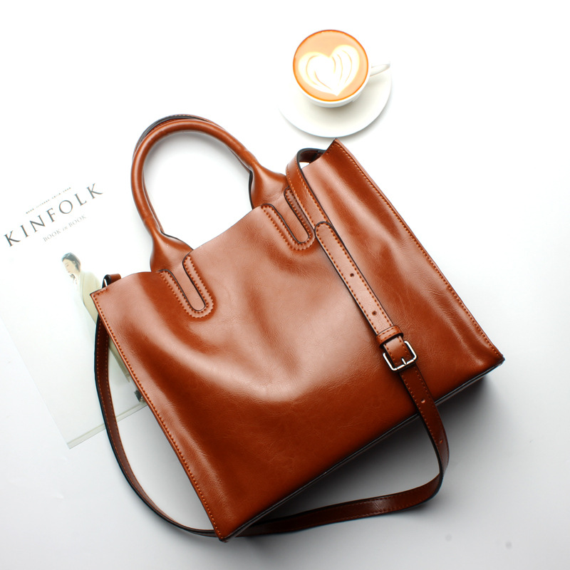 High quality Women Cowhide Tote bag ladies Genuine Leather Shoulder tote bag fashion Composite bags Commuter Messenger Bag [whorse] brand high quality women genuine leather shoulder bags cowhide ladies casual tote bag large capacity wa5054 7