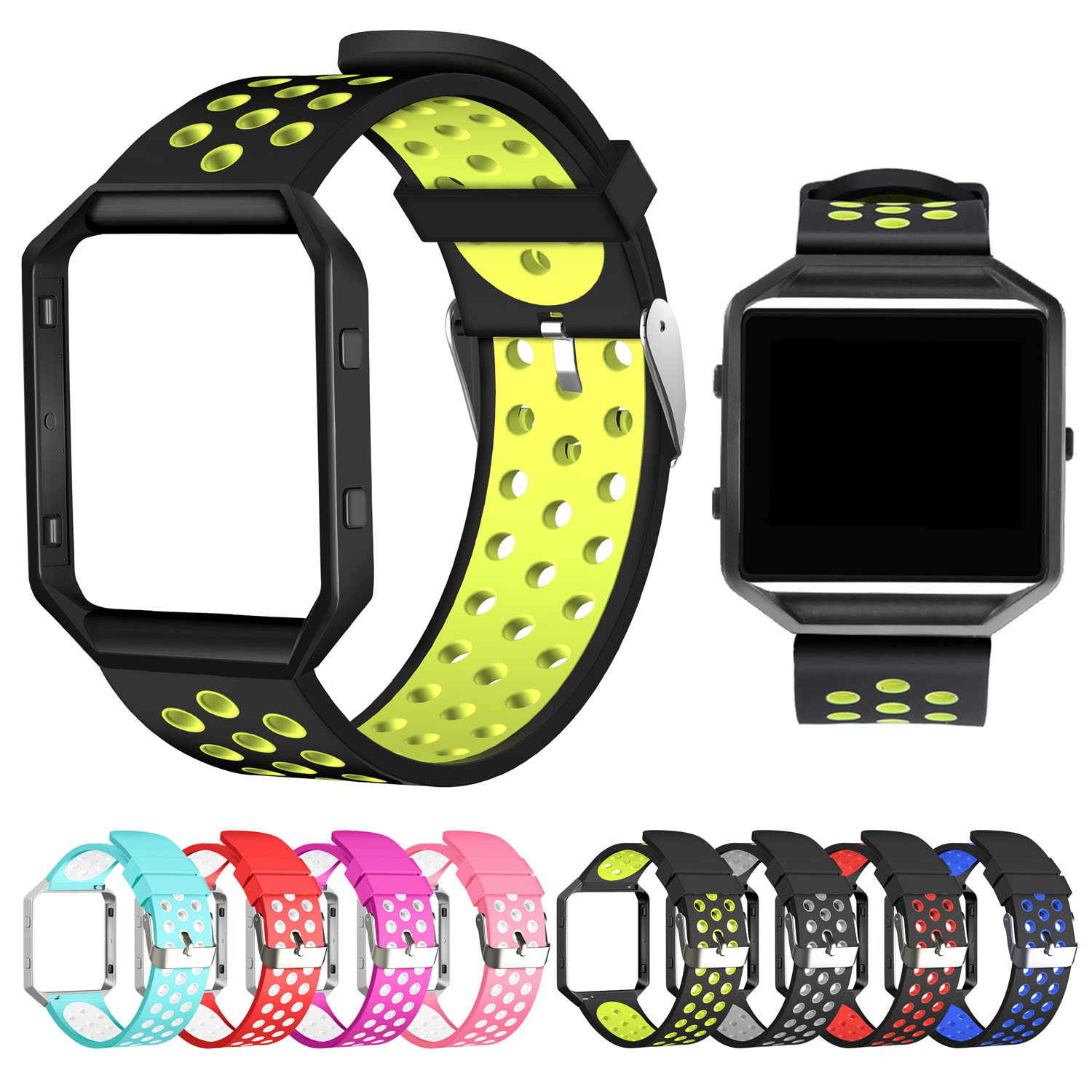 Silver / Black Metal Frame Case Cover and Sport Soft Silicone Strap for Fitbit Blaze Watch Band Wristband Bracelet 23mm цена и фото