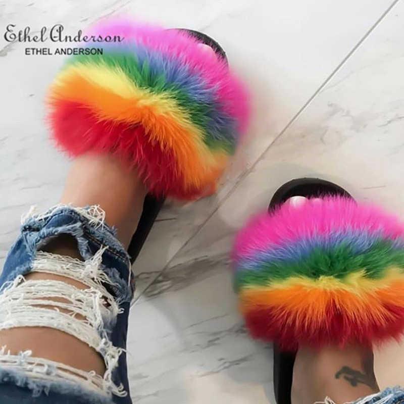 Ethel Anderson moda gerçek rakun kürk slaytlar terlik yaz Flip flop rahat Vogue tilki kürk sandalet Vogue peluş ayakkabı