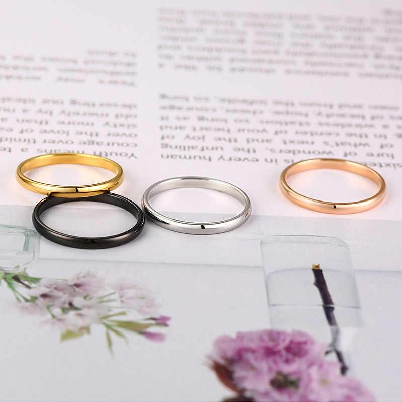 2 Mm Sederhana Pria Wanita Dipoles Klasik Stainless Steel Pernikahan Cincin Pernikahan Cincin Pertunangan Pernikahan