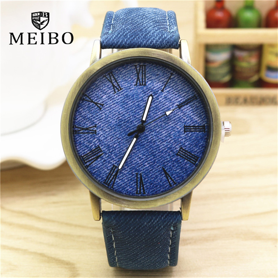 Top Luxurious Solid Color Men Klockor Mode Jeans Läder MEIBO Quartz Armbandsur Ladies Kvinnor Watch 2018 relogio feminino