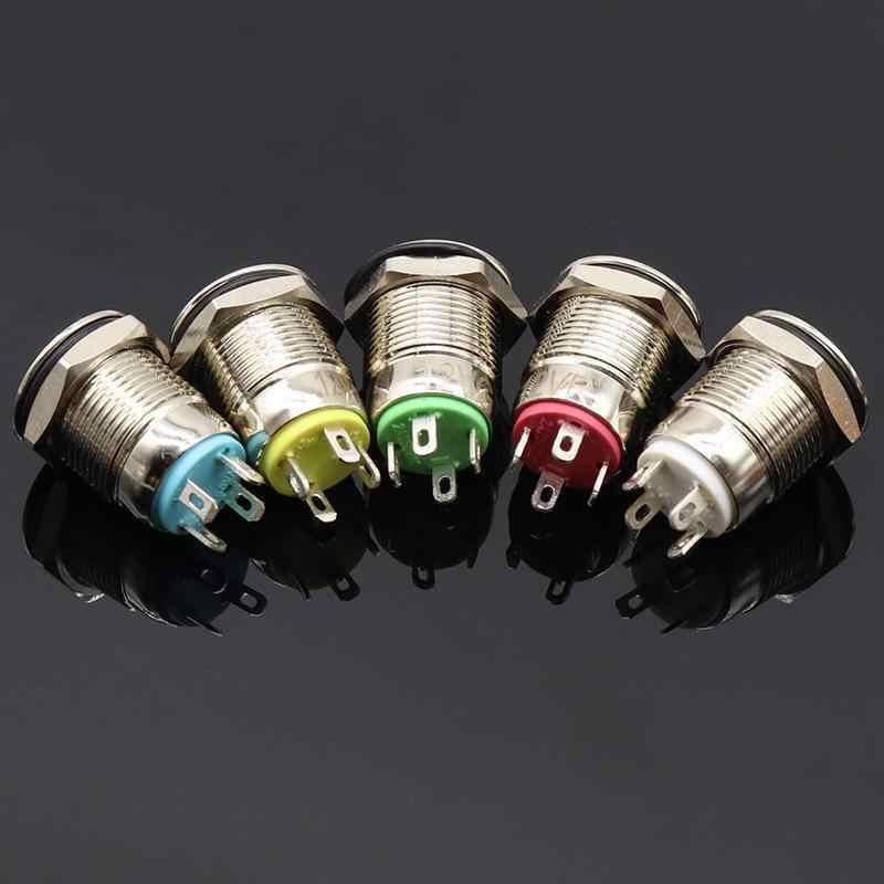 12 мм самовосстановление с светодиодный 3 в 5 в 12 В 24 В 220 В металлический Мгновенный переключатель кнопка автоматического сброса водонепроницаемый с подсветкой