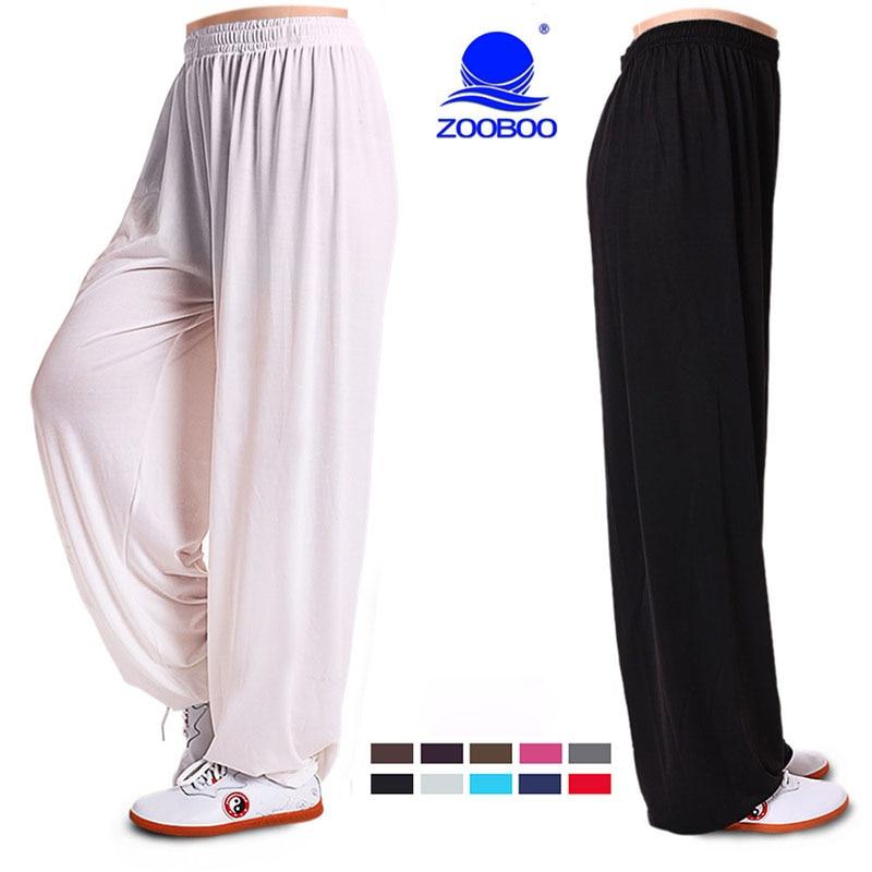 Zooboo Ice Silk Martial Arts Tai Chi Yoga Pants Acrobatics Pants Kung Fu Cropped Pants Fitness Dance Running Pants Men Women