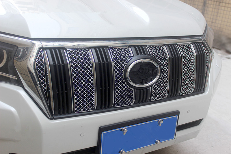 For Toyota Land Cruiser Prado LC150 FJ150 2018 Car styling 1set Stainless Steel Front Racing Grill Grille accessories stainless steel car racing grills for mazda cx 5 2013 2016 front grill grille cover trim car styling