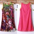 2015 Caliente Princesa Party Girls Bebé Del Verano Vestido Estampado vestido de Tirantes Ocasional 4 A 14Y