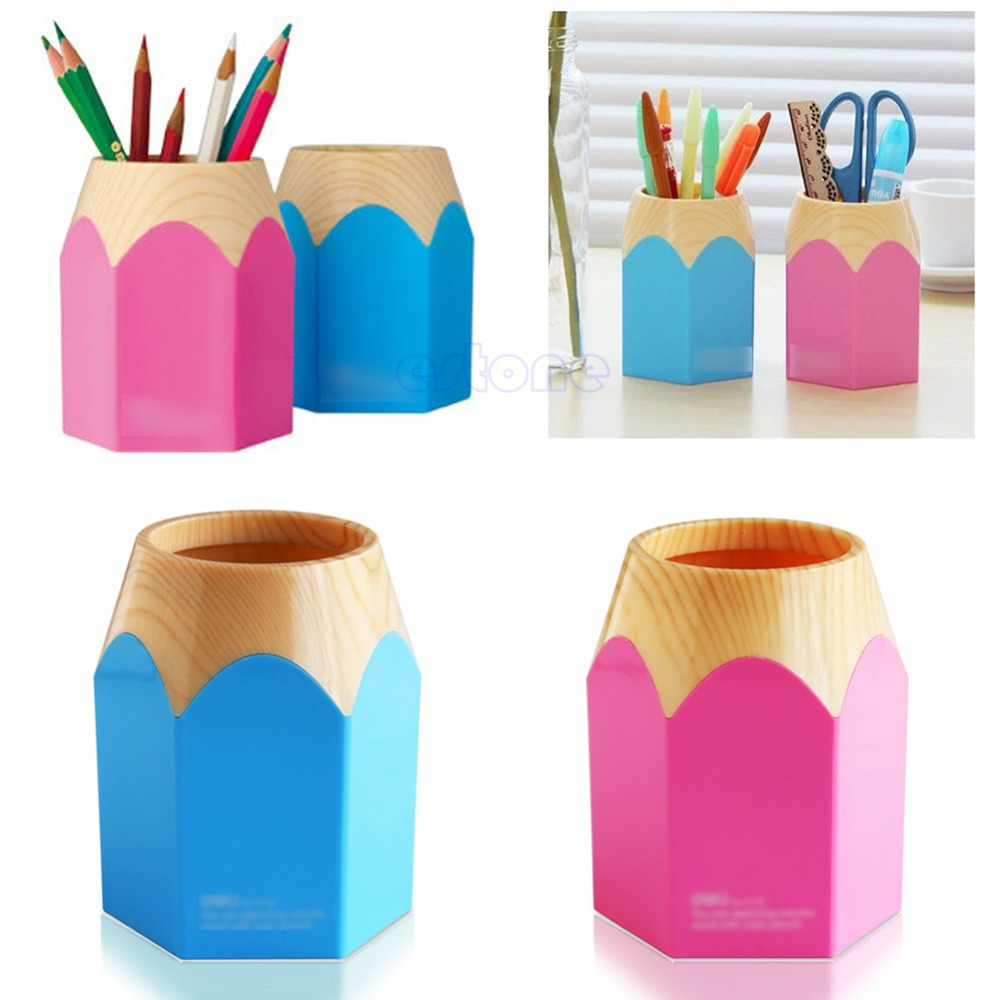 Creative Pen Vase Pencil Pot Makeup Brush Holder Stationery Container Desk Tidy