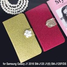 Flip Phone Case Cover for Samsung Galaxy J1 2016 SM-J120 J1(6) SM-J120F/DS Original Rhinestone Cases Bling Fundas стоимость