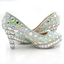 2016 Dazzing 3 Inches High Heel Round Toe Formal Dress Shoes Sweetness  AB Color Crystal Wedding Shoes Party Pumps Platform