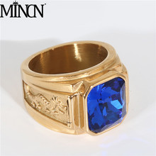 MINCN Mens Signet Ring Gold Stainless Steel Engraved Dragon Vintage Fashion Wedding Band Simple Jewelry Male