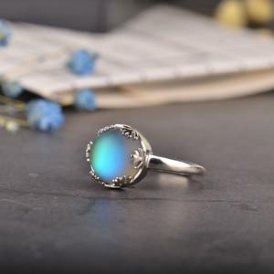 Image 2 - MosDream אור ירח גבירותיי אורורה טבעות s925 כסף כחול אור קריסטל אלגנטי תכשיטי ימי הולדת Romatic מתנה עבור נשים