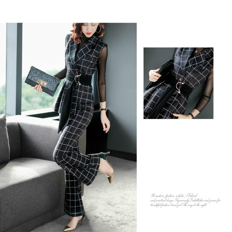 Pantalons Black Bureau Ensembles Lw073 Plaid De Mode Costumes Femmes Printemps Formelle 2019 Deux Vêtements Pièces Coréenne Complet OWqAa