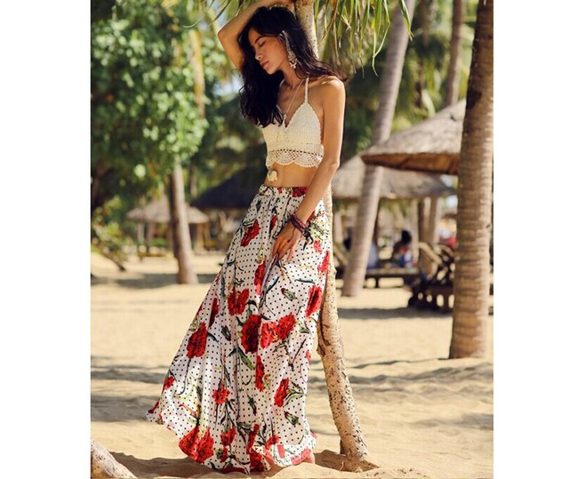 2b79d147f013 Bohemian Style Summer Beach Dress Sexy Women Two Piece Outfits Red Vestido  Vintage Hippie Boho Dress Two Piece Dress 9235