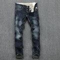Ripped jeans 2016 Recién llegado de mens jeans famosa marca impreso pantalones vaqueros para hombre de alta calidad biker jeans para hombres 611