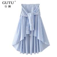 GUTU 2017 Spring Summer Fashion Long Crony High Waist Blue Stripe Trend Skirt Woman Tide