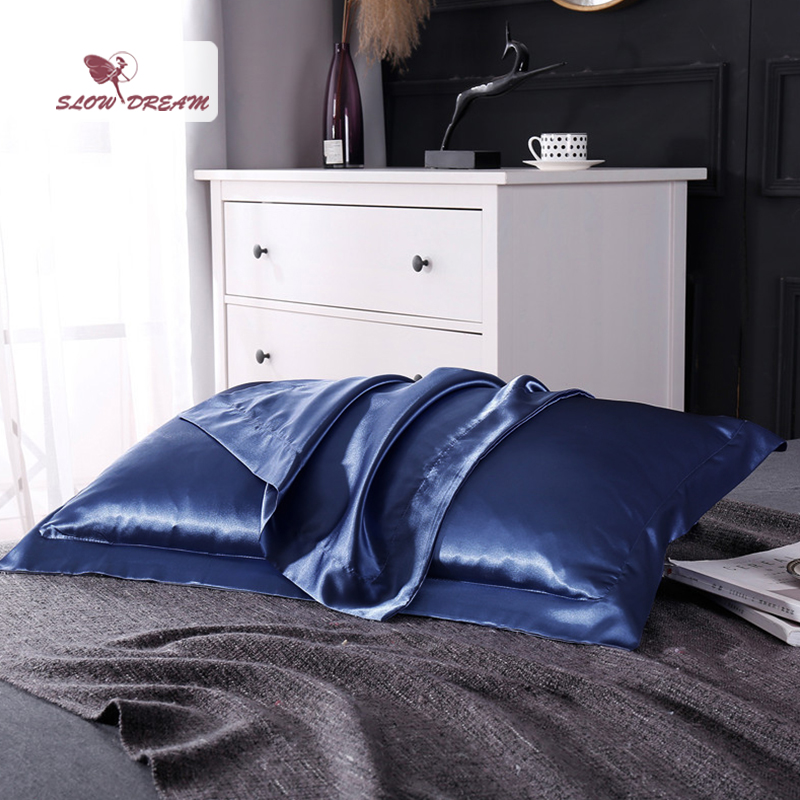 SlowDream Luxury Blue Euro 100% Satin Silk Luxury Pillowcase Wholesale Queen King Silky Bed Pillow Case For Healthy Sleep