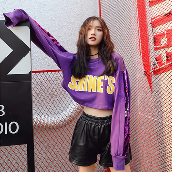 women sequined croped sweatshirt purple white print fashion high street lady oversize top 2018 fashion character double neck