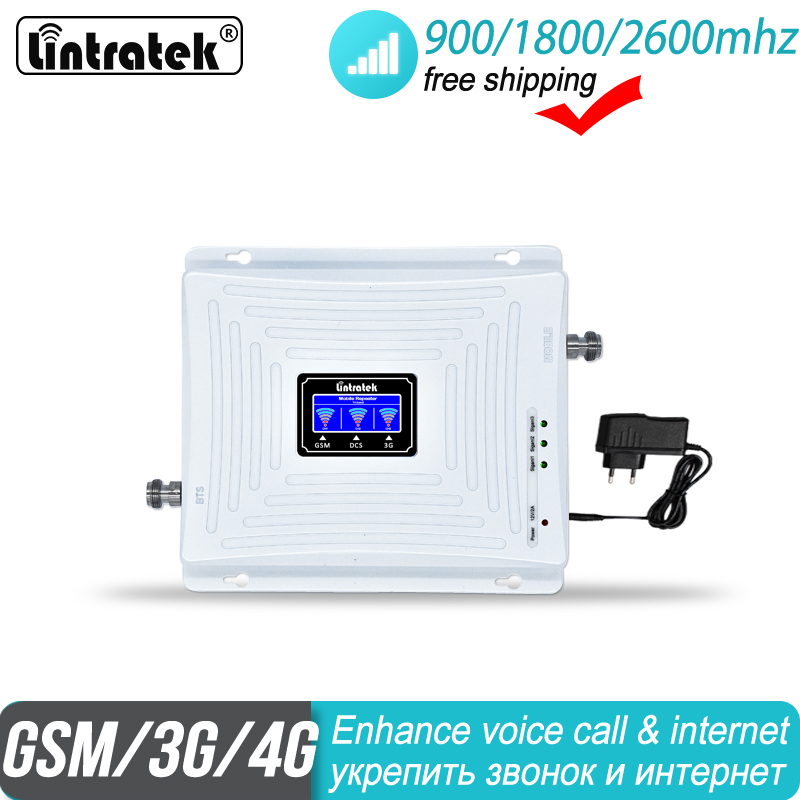 Free Shipping 4G Mobile Amplifier Tri Band Repeater 900 1800 2600 GSM DCS 2G 3G Repeater LTE Cellular Signal Booster 35