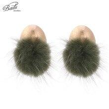 Badu Mink Fur Earring Women Lovely Stud Korean Style 2018 New Fashion Jewelry Gold Earrings