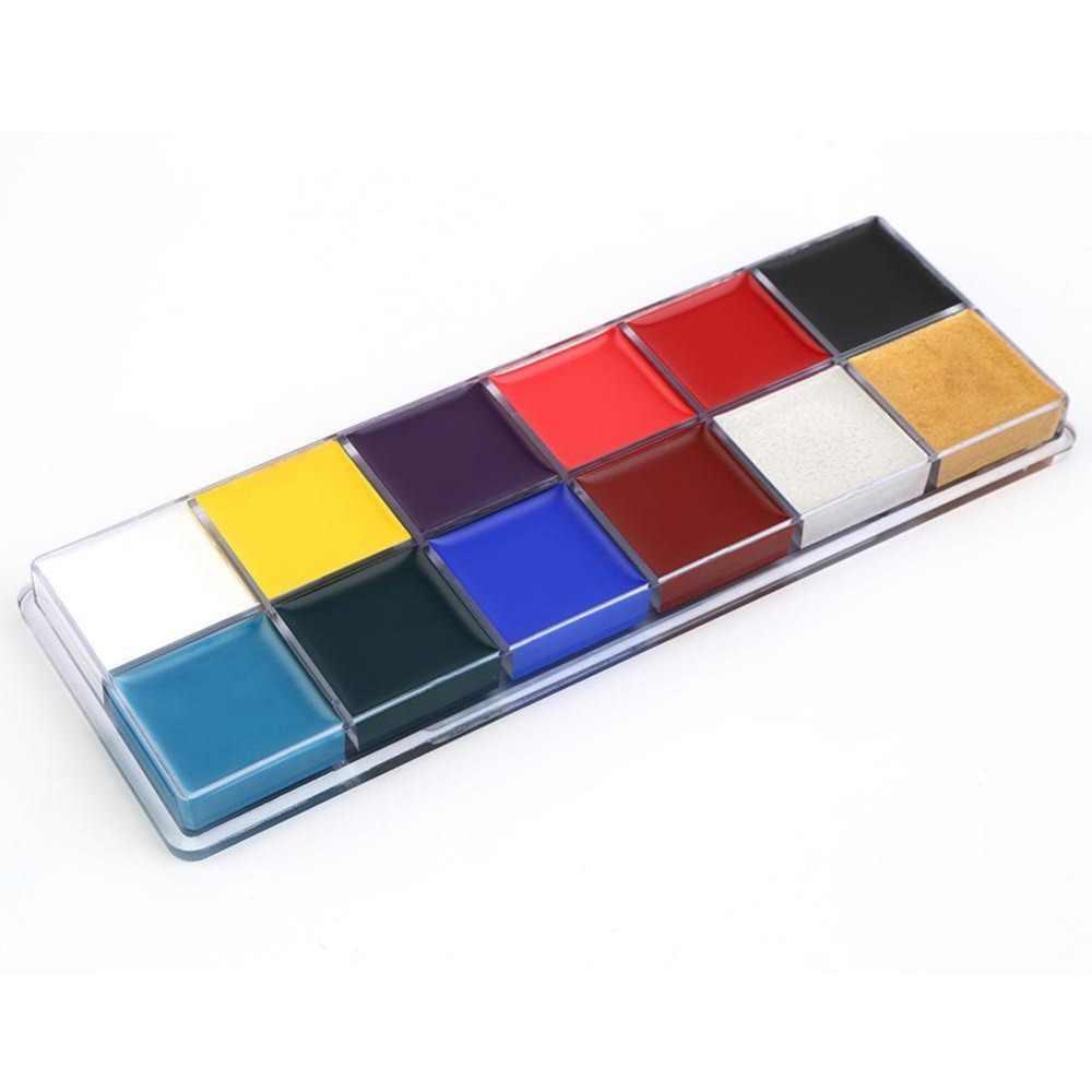 12 สี TATTOO Body Paint ภาพวาดสีน้ำมันใช้ฮาโลวีน PARTY แฟนซีชุดเครื่องมือแต่งหน้าความงาม