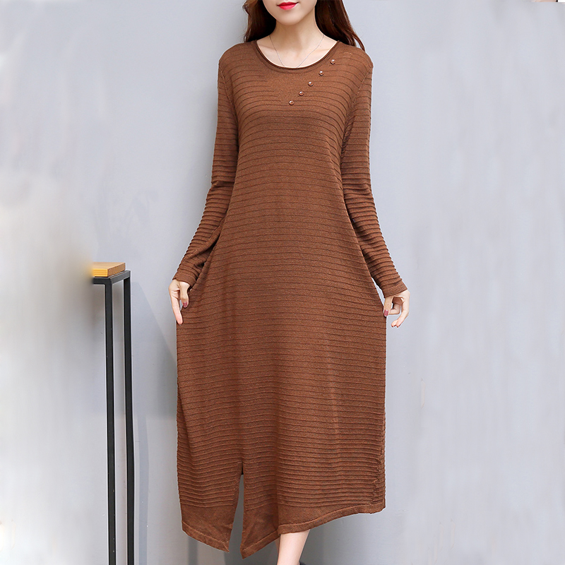 2017 Autumn maxi knitted Dress women casual o-neck Long Sleeve loose sweater Dress Korean style plus size long Dress vestidos plain loose long sleeve plus size dress