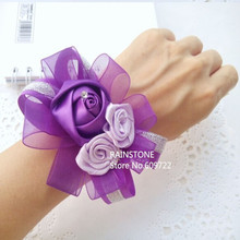 Mix 2014 New Romantic Wholesale Prom Rose corsage  Wrist Flower Brides Accessories 5 Color FL1321 Boutonniere